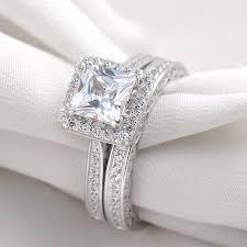 Princess Cut Wedding Ring by Amazon Com Newshe Jewellery 2 8 Carat Princess White Cz 925 Solid