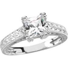 14k white gold art deco style engraved 6x6mm princess shaped