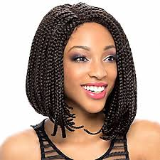 box braids hairstyle human hair or synthtic 14inch 1b box braids bob wig natural wig box braid wig with bangs