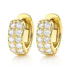 14k gold hoop earrings diamond hoop earrings 14k gold 1 carat diamond huggie earrings
