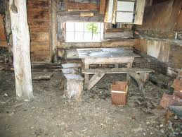 the only seating was this picnic style table with a cabinet just