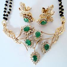 gold diamond emerald necklace images Diamond gold emerald pendant set vinita jewels jpg