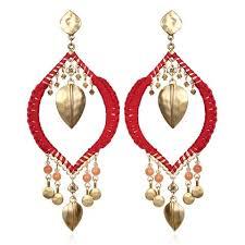 Red Chandelier Earrings Boho Statement Earrings Sequin