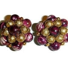 earrings hong kong vintage marsala gold bead cluster clip from popcornvintageb