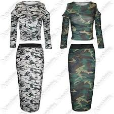 army pattern crop top new womens army look camouflage crop tops pencil skirts ladies