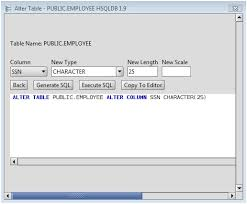 Sql Server Alter Table Change Column Name Hsqldb Change Column Type Of Hsqldb Database Table Columns Via The