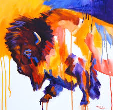 paintings by theresa paden contemporary bison painting in bright