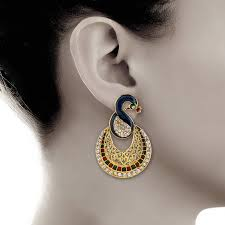 peacock design earrings buy multicolor peacock design meenakari gold finish dangal