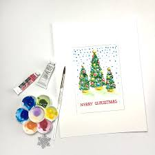 painting watercolor christmas cards christmas lights decoration