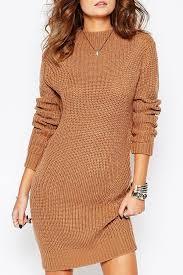 brown mock neck long sleeve casual sweater dress long sleeve