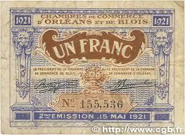 chambre de commerce orleans 1 franc regionalism and miscellaneous orléans et blois 1921