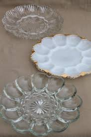 milk glass egg plate vintage glass egg plates clear glass deviled egg trays milk