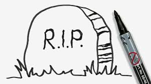 how to draw a cartoon halloween tombstone with rest in peace