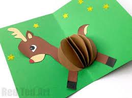 printable christmas pop up card templates 3d reindeer card diy red ted art s blog