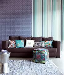 blue wallpaper by eijffinger contemporary living room boston
