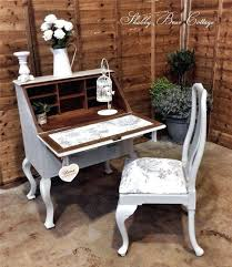 dressing bureau shabby chic writing desk painted vintage antique bureau and chair