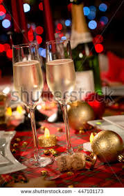 Champagne Glitter Christmas Decorations by Decorated Christmas Dining Table Champagne Glasses Stock Photo