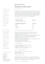 Warehouse Worker Resume Template Warehouse Worker Job Description Cbshow Co