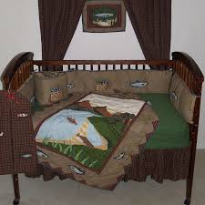 Fish Nursery Decor Fishing Brown And Green Country Fish 6 Crib Bedding Set
