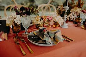wooded wedding inspiration with bold colors and geometric details