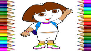 dora coloring page dora cartoon drawing page learning