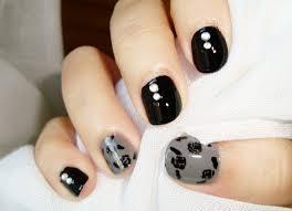 imagenes de uñas pintadas pequeñas diseño uñas cortas rosas de otoño negro gris short nails design