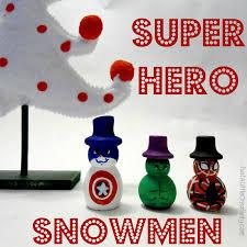 hand painted super hero snowmen spiderman hulk and captain