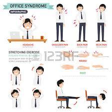 exercice au bureau fille de bureau infographique et exercice d étirement clip