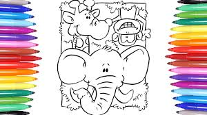 animals coloring pages learn how to color monkey elephant and
