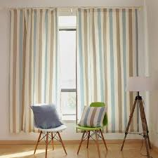 Blue Striped Curtains Simple Style Blue Beige Poly Cotton Striped Curtains