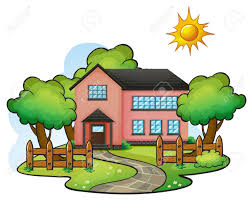 House Drawing Illustration Of A House In A Beautiful Nature Royalty Free