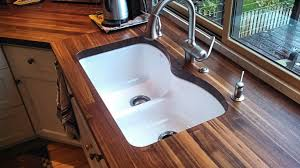 sink cutouts in custom wood countertops edge grain walnut countertop with undermount sink and tung oil citrus finish