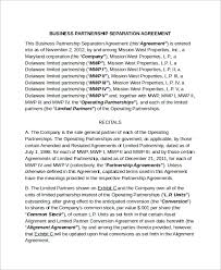 sample business separation agreement template 6 free documents