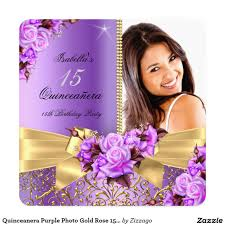 Quinceanera Invitation Cards Quinceanera Purple Photo Gold Rose 15th Birthday Card