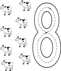 learn number 8 with eight cows coloring page bulk color