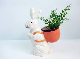 Bunny Rabbit Home Decor Large Vintage Bloom Rite Bunny Planter White Rabbit W Basket On
