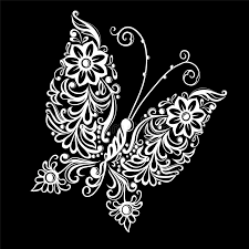 beautiful monochrome black and white butterfly tattoo design or
