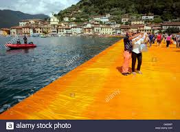 Floating Piers by Paratico Italy 18th June 2016 Visitors Walk Across Floating