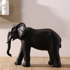 new handmade black large lucky elephant figurine statue home