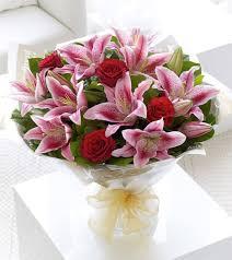 stargazer bouquet pink lilies roses s day boutique e flowers