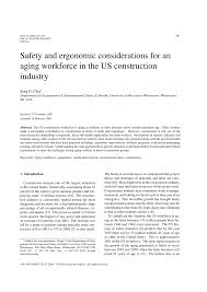 safety and ergonomic considerations for an aging workforce in the