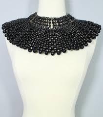 pearl necklace wholesale images Wide shoulder to shoulder pearl bib necklace black jpg