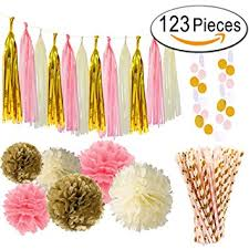 gold and pink baby shower paxcoo baby shower decorations for baby pink gold