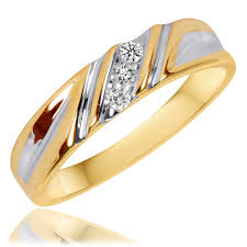 wedding band sets for 1 10 ct t w his and hers wedding rings 10k yellow gold