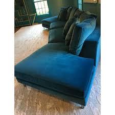 Lillian August Chairs Lillian August Teal Blue Velvet Sectional Chairish