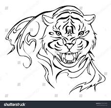 tiger tattoo design vector stock vector 232437052 shutterstock