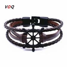 anchor bracelet men images 2017 punk rudder anchor bracelet men jewelry leather bracelets jpg