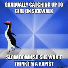 High Heels Meme - socially awkward penguin meme gif catches up to skeptical penguin