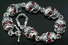 bracelet skull images Jumbo red eyed skull link silver bracelet br 040 jpg