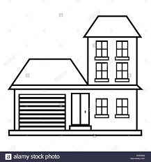house with garage icon outline style stock vector art